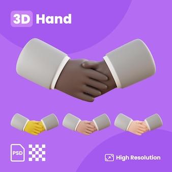 3d-sammlung mit zustimmend zitternden händen
