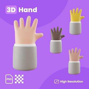 3d-sammlung von winkenden händen