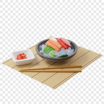3d-sashimi mit thunfisch und lachs auf bambusblatt in einem teller voller eis auf einer bambusmatte in der nähe von essstäbchen
