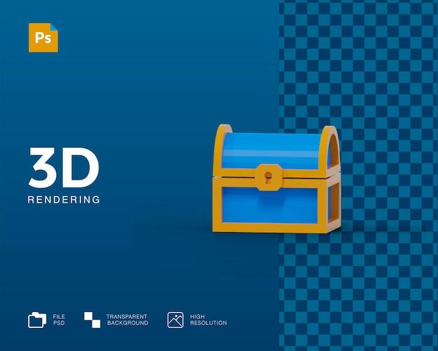 3d-schatzkiste-rendering isoliert