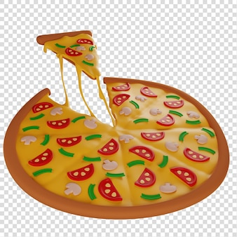 3d-scheibe heiße pizza mit pilzen mit stretching-käse-pizzeria isolierte illustration