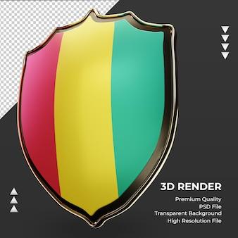 3d-schild guinea-bissau-flagge, die rechte ansicht rendert