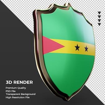 3d-schild sao tome und principe flagge rendering linke ansicht
