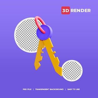 3d-schlüsselsymbol mit transparentem hintergrund