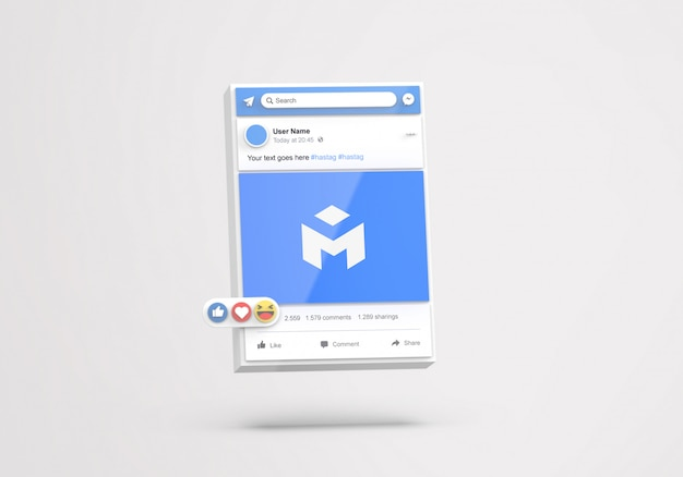 3d-schnittstelle social media facebook mockup