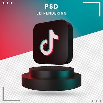 3d schwarz gedrehtes logo-symbol tiktok isoliert