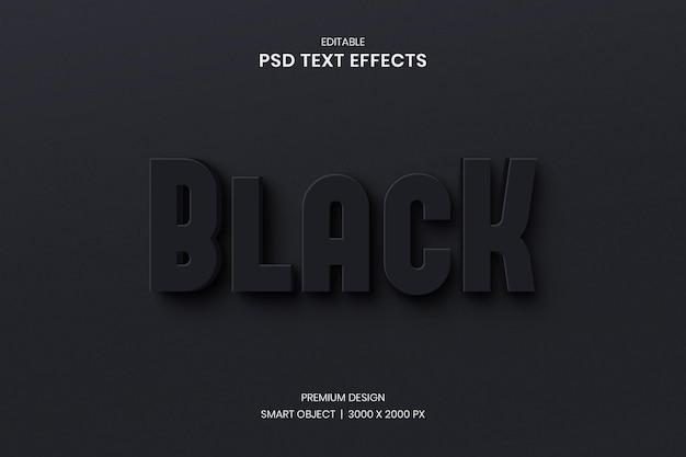 3d schwarzer bearbeitbarer texteffekt