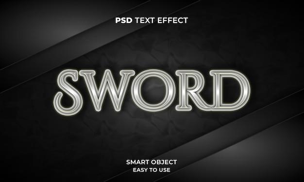 3d-schwert-texteffekt-vorlage mit dunkler farbe