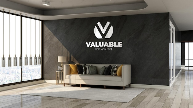 3d-silber-firmenlogo-modell im wartezimmer der bürolobby mit sofa