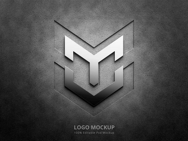 3d-silber-logo-mockup und prägelogo-mockup