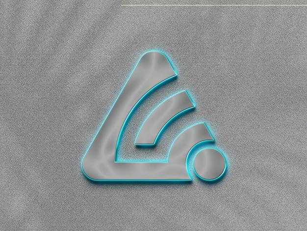 3d-silberlicht-neon-logo-modell