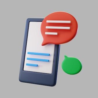 3d-smartphone mit textnachrichten