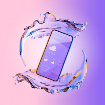 3d smartphone mit wassereffekt