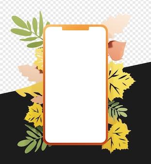 3d-smartphone-silhouette mit blatt- oder blumenillustration für die herbstsaison isoliert