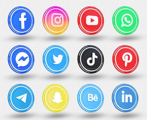 3d social media icons social media logo sammlung