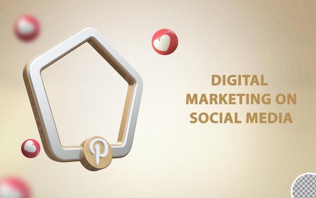 3d-social-media-pinterest mit rahmenmodell