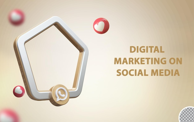3d-social-media-whats-app mit rahmenmodell