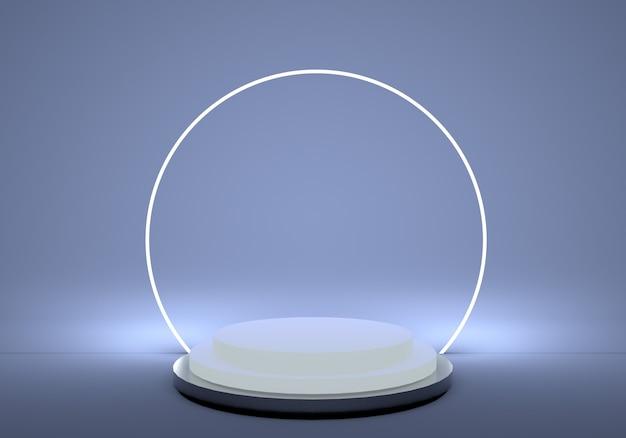 3d sockel im zylinderplattformpodest mit rundem neonrahmen