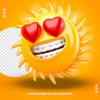 3d sonne emoji mit herz rechts und isoliertem dentalgerät isoliert