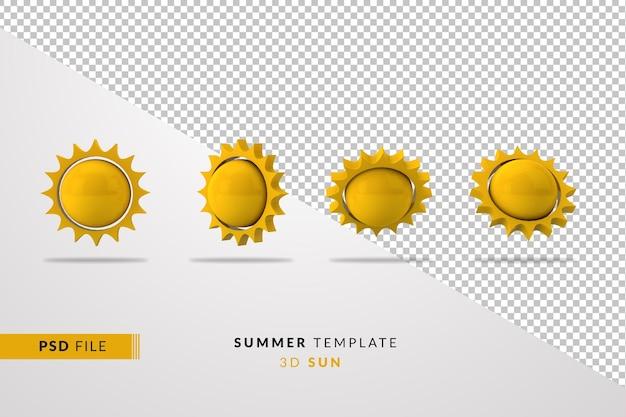 3d sonnenkollektion sommer isoliert