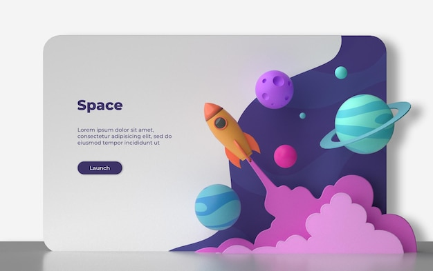 3d space landing page rendering isoliert