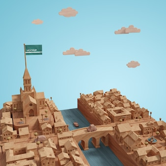 3d-städte-landschaftsgebäudemodell auf tabelle