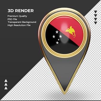 3d-standort-pin papua-neuguinea-flagge-rendering-vorderansicht
