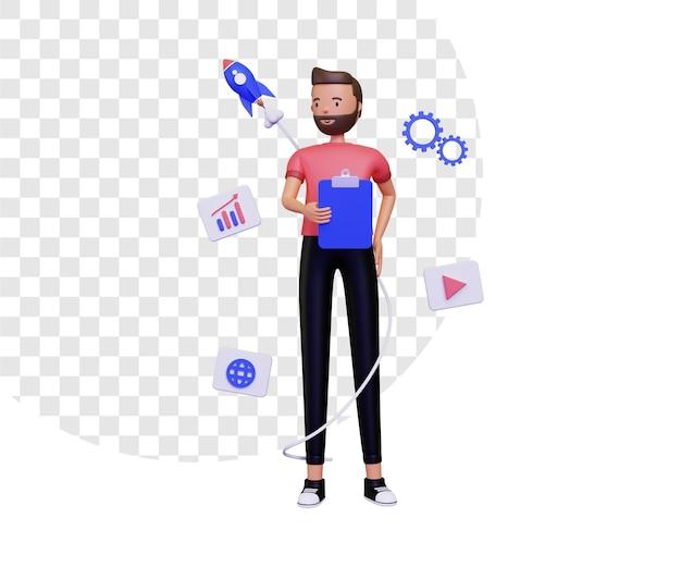 3d-startup-leben mit einem mann, der notizen hält