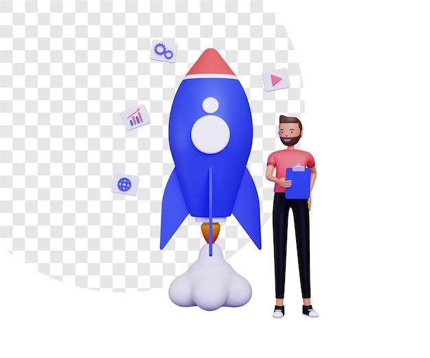 3d-startup-leben mit einem mann, der notizen und eine fliegende rakete hält
