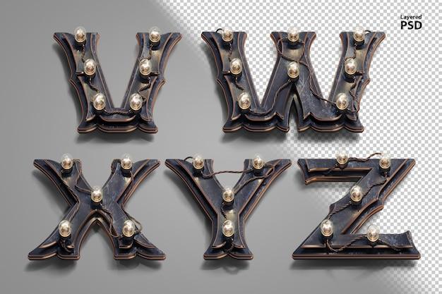 3d steampunk-alphabet mit röhrenlampen. buchstabe v, w, x, y, z.