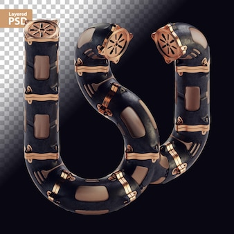 3d steampunk schwarzer buchstabe mit bronzeteilen
