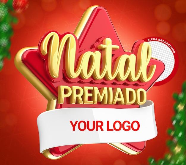 3d-stempel mit weihnachtspreis für kompositionsfeier datum brasilien