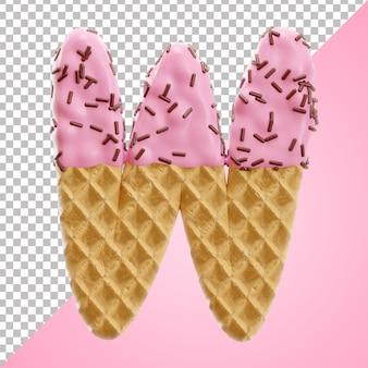 3d-stil des buchstabens w alphabet waffel mit schokoladenstreuseln im 3d-stil isoliert