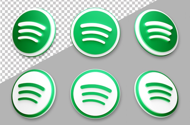 3d-stil spotify social media logo-set