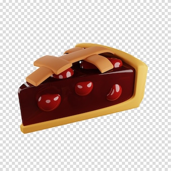 3d-stück kirschkuchen hausgemachte backwaren isolierte darstellung 3d-rendering