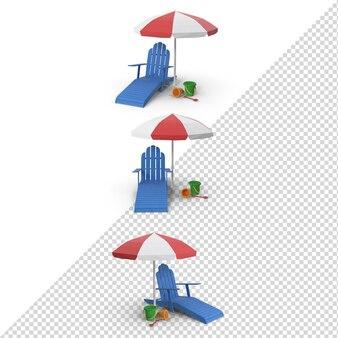3d summer blue stuhl mit rotem regenschirm isoliert