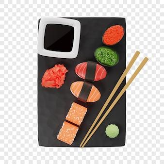 3d-sushi und rollen von drei arten rollt gunkan nigiri auf einem schwarzen schieferbrett neben essstäbchen