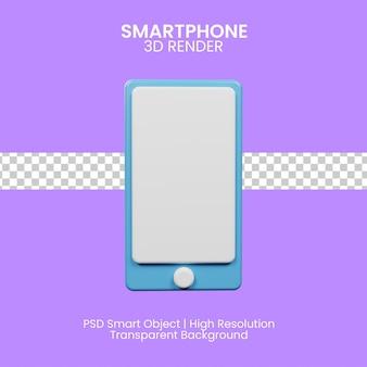 3d-symbol, das smartphone mit lila hintergrund rendert