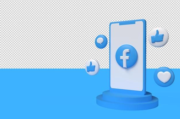 3d-symbol facebook, wie, bubble-chat und liebe mit dem telefon. 3d-rendering