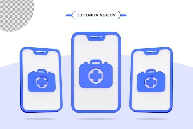 3d-symbol für medizinische medizin oder heilbox auf dem handy