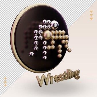 3d-symbol gold olympische sportarten wrestling-symbol-rendering linke ansicht