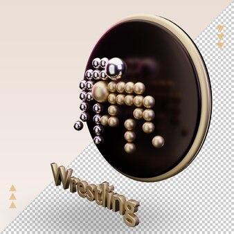 3d-symbol gold olympischer sport wrestling-symbol, das rechte ansicht rendert
