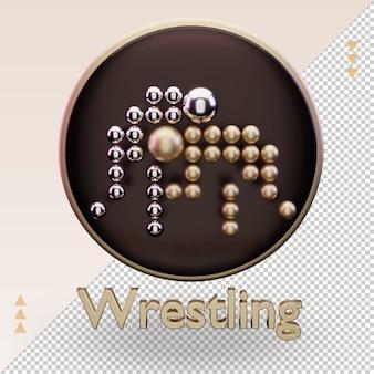 3d-symbol gold olympischer sport wrestling-symbol-rendering-vorderansicht