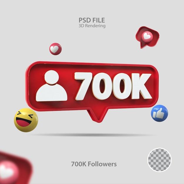 3d-symbol instagram 700kfollowers rendern