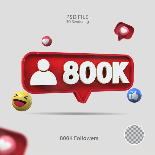 3d-symbol instagram 800k follower rendern