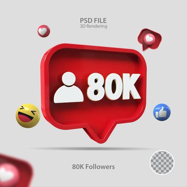 3d-symbol instagram 80k follower rendern