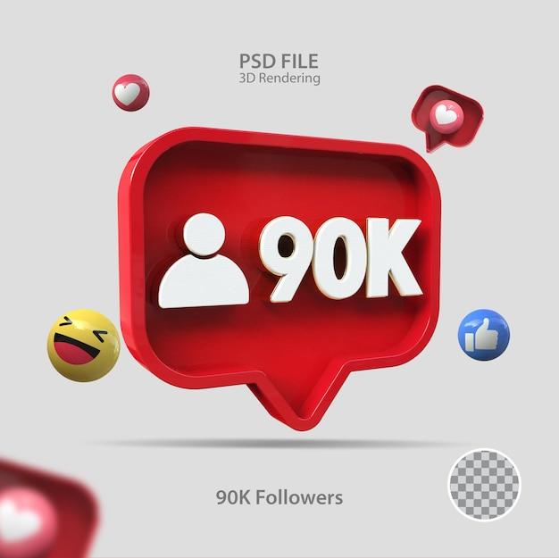3d-symbol instagram 90k follower rendern