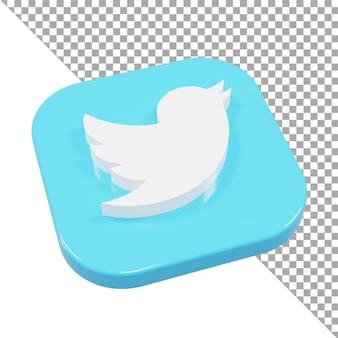 3d-symbol logo twitter minimalistisch isometrisch