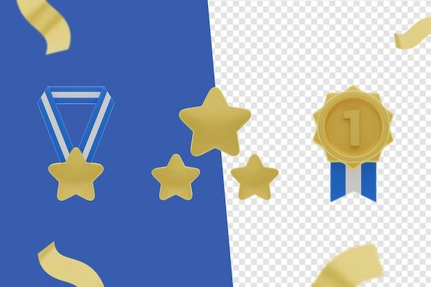 3d-symbol, medali- und bintang-set