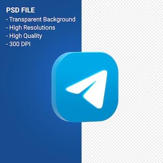 3d-symbol-rendering des telegrammlogos isoliert